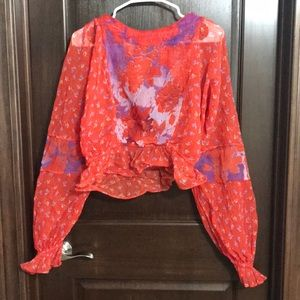 Free People Red Floral Cropped Blouse